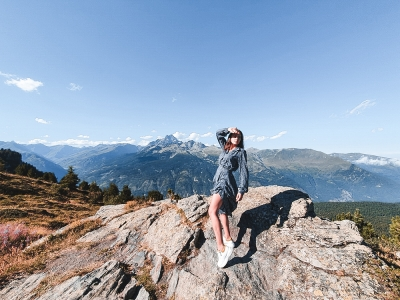 viscose blue dress and the italian mountains